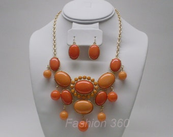 Orange bubble necklace with matching earring, colorblock/two-tone, bib necklace, statement necklace, fashion jewelry