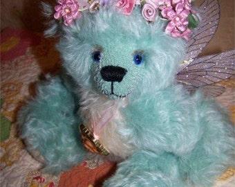 Petula-OOAK Blue-eyed Mohair Faerie Bear