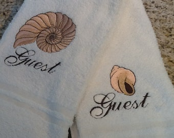 Custom Name Shell Embroidered Guest Bath, Beach Hand Towel, Shell Guest Bath, Custom Personalized Beach House, Lake House, Cottage Name Gift