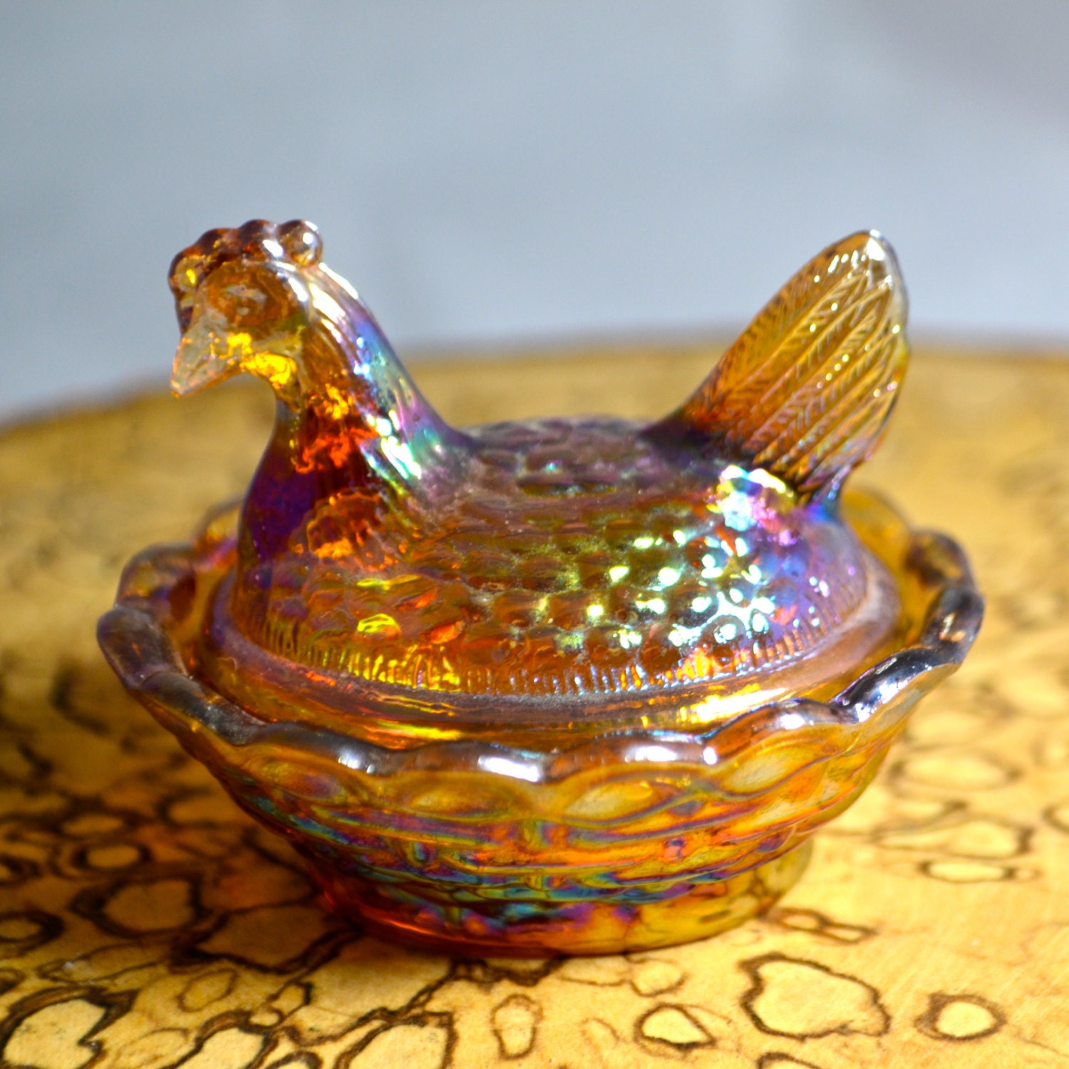 Antiques Collectibles: Vintage Boyd Glass Collectible Chicken Box By BellasNiftyNook