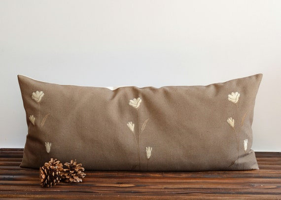 Large Decorative Bolster Pillows : Large Bolster Pillow Cover Embroidered Pillow Cover 16x35