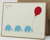 Baby Boy Congratulations Card - Welcome Little One with Elephants and Balloon