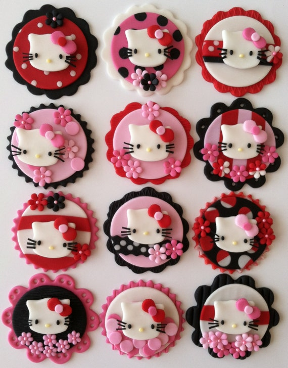 Items similar to Hello kitty cupcake toppers on Etsy