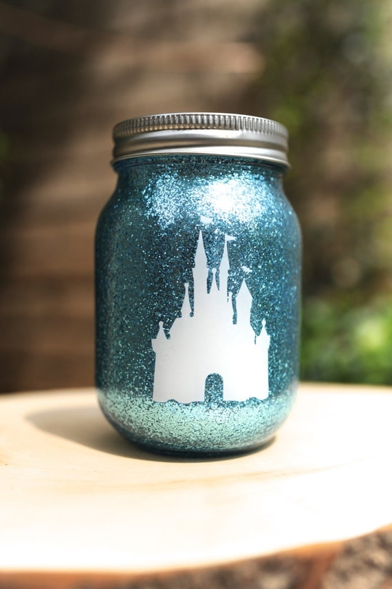 items similar to tinted glitter pint mason jar disney