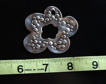 one large flower pendant, antique silver 52 mm long, 55 mm wide, 1 mm thick, hole 2 mm, great statement piece