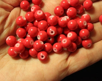 50 red glass beads, baking painted round, 8mm, 0.8mm hole