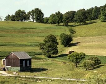 Old Barn Photo, Rustic Barn Photo, Crops in Field Photo, Pennsylvania Barn Photo, Relaxing Barn Photo, Wall Decor Photo of Barn