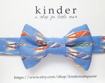 blue bow-tie rocket ship baby/boys