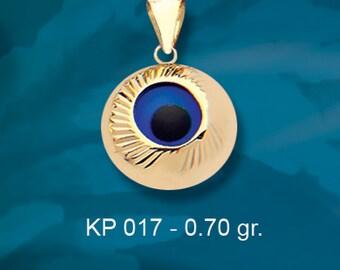 14K Solid Gold Evil Eye Good Luck Charm Pendant