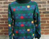 vintage 1980s turtleneck sweater, checker board in stripes (Large, X-Large) SALE PRICE