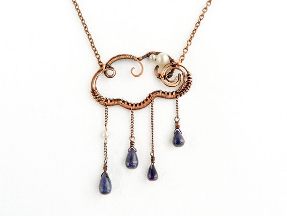 Raine cloud - Wire copper pendant - Wire jewelry - Sapphire - Spring - Drops