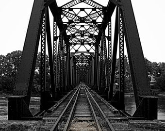 Ride the Rails, black and white, train tracks