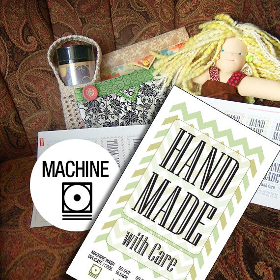 Laundry Tag Printables Machine Wash for Handmade Items With