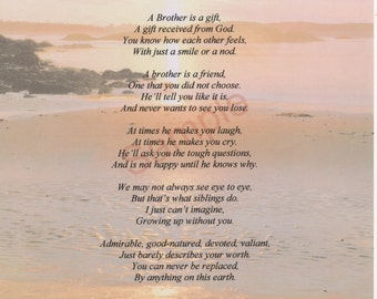 "Five Stanza ""What Is A Brother"" Poem shown on ""Shoreline"" Background"
