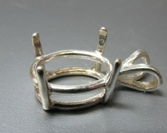 10 x 8 mm Sterling Silver Setting for Faceted Stone - Item 50309