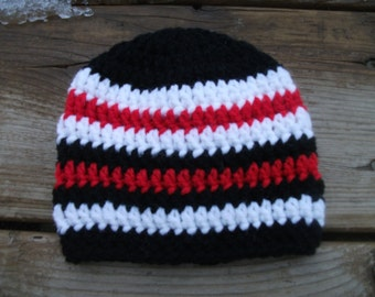 SPECIAL Baby Black, White and Red Birth Hat