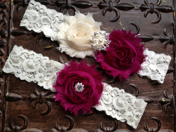 Cranberry Wedding Garter Ivory Cranberry Garter Ivory