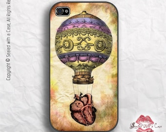 Hot Air Balloon and Vintage Heart - iPhone 4/4S 5/5S/5C/6/6+ and now iPhone 7 cases!! And Samsung Galaxy S3/S4/S5/S6/S7