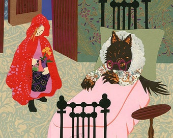 Red and Wolf At Home, collage painting print, by ConstanceAndersonArt