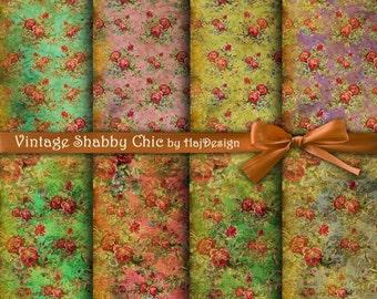 VINTAGE SHABBY CHIC - Instant Download, Digital Paper, Scrapbook Paper, Decoupage Paper, Shabby Chic, Floral Paper, Vintage Paper
