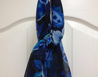 Blue Floral Print Scarf