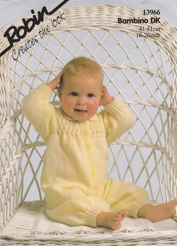 13966 Robin Knitting Pattern Baby All-in-One with Smocked