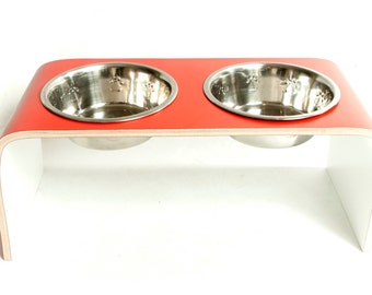 Large Red and White Raised Pet Dog Bowl Holder - Square Design