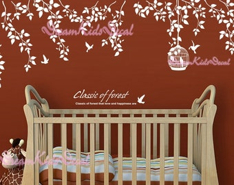 Nursery wall decal baby girl and name wall decals flowers wall sticker wedding office-White vines birdcage and birds-DK055