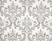 Grey Damask Fabric by the Yard Premier Prints Home Decor traditions storm grey on white - 1 yard or more  - SHIPS FAST