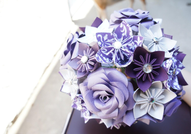 Paper Kusudama Rose Flower Wedding Bouquet Purple