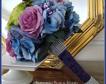 Wedding Bouquet Package of Purple and Blue
