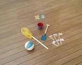Blue Beach Set - 1:12 or 1/12 Scale Dollhouse Miniature, Bucket and Spade, Fishing Net, Beach Ball, Pinwheels, for Beach, Garden or Vacation