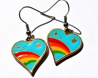 Rainbow Heart earings -enamel -great quality