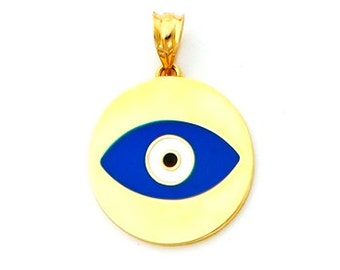 14Kt Gold Enameled Evil Eye Disc Pendant.