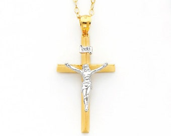 14k gold Triangular Crucifix Charm.