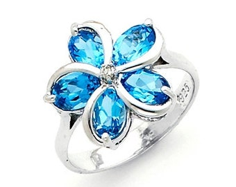 Genuine Blue Topaz & .02 Diamond ctw. Plumeria Floral Ring.