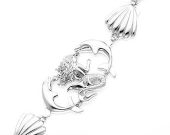 Sterling Silver Mermaid & Dolphin Seashell bracelet w/ lobster lock.