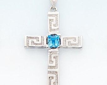 Sterling Silver greek key Cross  pendant w/ Genuine London Swiss Blue Topaz center stone.