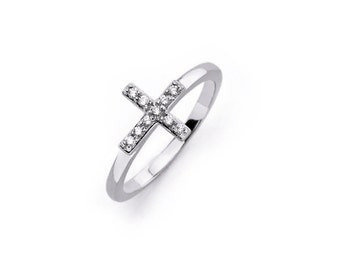 Sterling silver side cross ring with cz stones