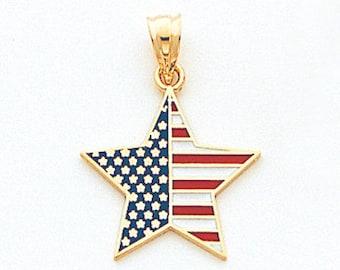 14k Gold Yellow American Patriotic Star Pendant