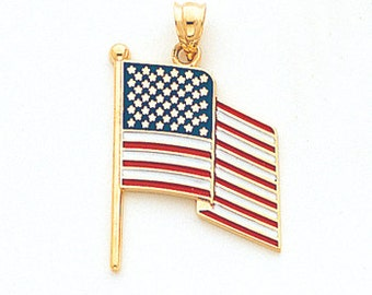 14k Yellow Gold Waving Flag Pendant