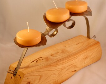 Wood and metal candle holder