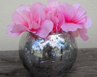 Small Round Vase - Faux Mercury Glass