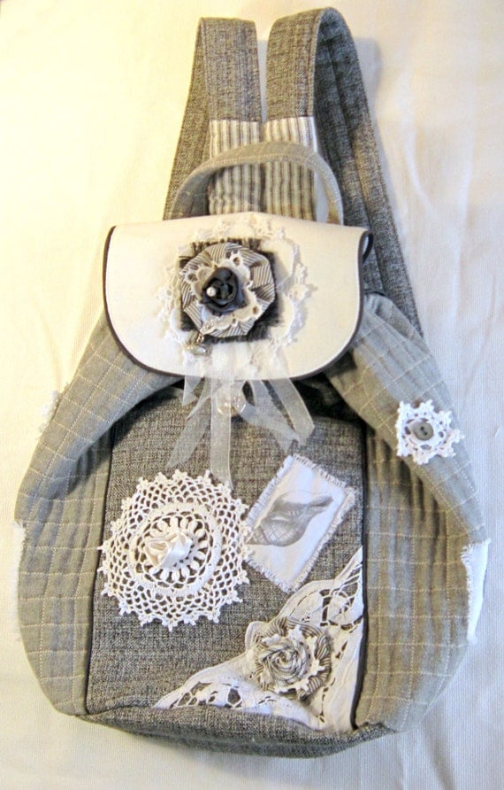 OOAK handmade fabric rucksack with lace detail