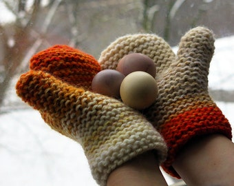 White orange knit mittens, hand knitted for women, rustic knit, touchscreen gloves, texting mittens
