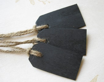 Small Wood Chalkboard Tags -- Set of 25 -- Wedding Favor, Place Cards, Name Cards, Gift Tags