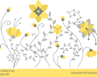 Yellow Flowers Digital Clip art