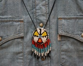 RESERVED FOR ALLISON Beaded Eagle Pendant Necklace
