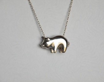 Pig charm pig necklace piggy bank pig pendant silver sterling silver pig pendant mozeypictures Gallery