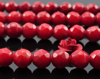 64 pcs of  red Coral faceted round beads in 6mm